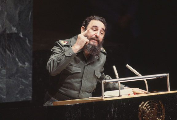 New York, US: Making a speech at the United Nations in 1979