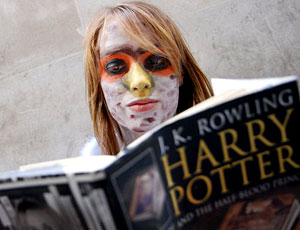 Harry Potter fans queue outside a bookshop in central London