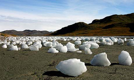 Ice boulders left behind after a flood caused by the overflowing of a lake in Greenland