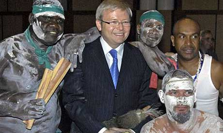 Kevin Rudd with Aboriginal leaders