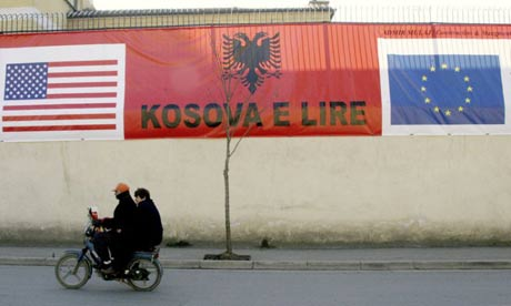 A 'Free Kosovo' banner in Tirana