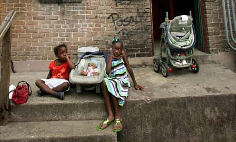 BW Cooper housing project residents in New Orleans. Photograph: Mario Tama/Getty Images