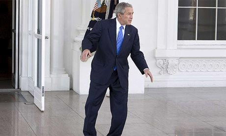 US president George Bush tap dances for the press