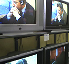 In a TV shop in the Bosnian Serb capital, Banja Luka, a worker watches Ante Gotovina