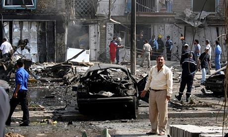 Aftermath of a bus explosion in Baghdad.