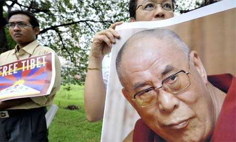 A poster of the Dalai Lama at a pro-Tibet protest in Jakarta, Indonesia