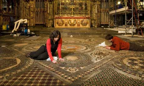 Conservation work being performed on the 13th century Cosmati pavement, constructed from medieval coloured tile and gemstone, at Westminster Abbey