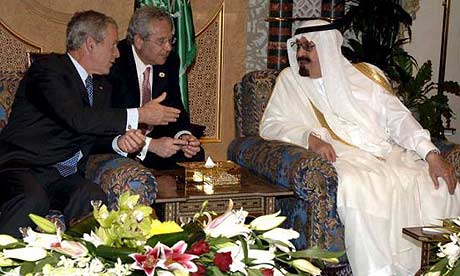 George Bush with Saudi Arabia's King Abdullah in Riyadh