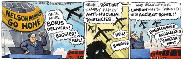 Steve Bell's If... cartoon strip showing Boris calling for Nelson Mandela to 'go home' and then pledging to 'root out namby-pamby anti-nuclear tendencies' and twin London with ancient Rome. His band of Routemasters begin declining the Latin verb 'Boggler' in celebration.
