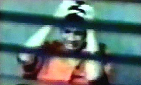 Video grab showing 16-year-old Omar Khadr being interviewed by intelligence agents at Guantánamo Bay, in February 2003.