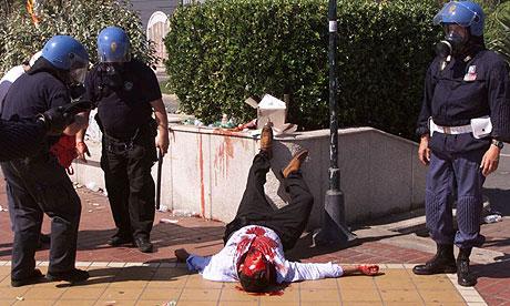 Police riot in Genoa