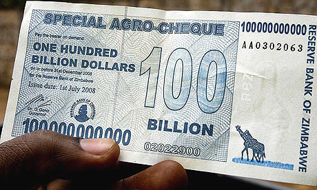 Zimbabwe's $100bn note, recently printed by the central bank in Harare.