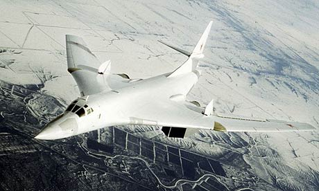 A Russian Tupolev-160 bomber during a combat training flight near the Engels air force base in the Saratov region of Russia, about 700 km (450 miles) southeast of Moscow