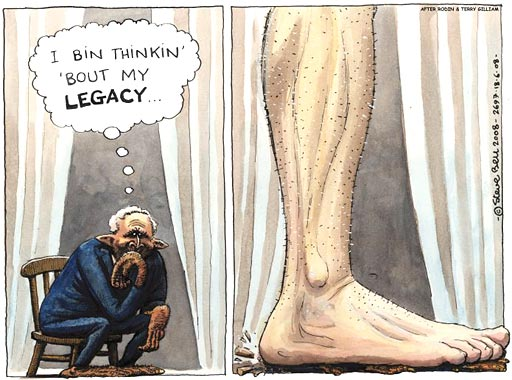 Steve Bell cartoon on Bush's Legacy
