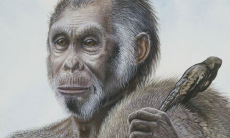 The painting is of a male Homo floresiensis, the
