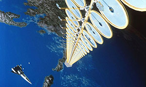 An artist's impression of the SunTower, which could be used to collect solar energy and beam it back to Earth