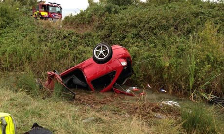The man's car in a ditch in Romney Marsh